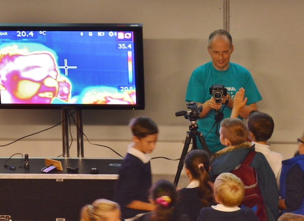 Thermal imaging camera at schools workshop. Courtesy Gary  Hewitt